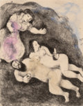 Prints:Contemporary, Marc Chagall (1887-1985). Loth et ses filles, pl. 9, fromDie Bibel, 1958. Etching with watercolor on Arches paper....