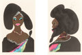 Prints:American, Chris Ofili (b. 1968). Afro Harlem Muses (diptych), 2005.Two lithographs in colors with embossing, on one sheet of Some...