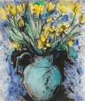 Prints, Jim Dine (b. 1935). Blue Vase, Yellow Flowers, 1993. Etching, heliogravure, power-tool, and monotype with hand coloring ...