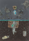 Fine Art - Painting, American:Contemporary   (1950 to present)  , Kelly Fearing (American, 1918-2011). First Nocturne, Suite#4, 1987. Color pencil, oil, and found objects on paper. 12x...