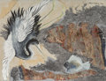 Fine Art - Painting, American:Contemporary   (1950 to present)  , Kelly Fearing (American, 1918-2011). Bird Collage #2, 1959.Casein on colored tissue paper collaged with fabric and silv...