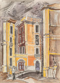 , Bror Utter (American, 1913-1993). Piazza Sant Ignazio, Rome, 1955. Watercolor and ink on paper. 15-3/4 x 11-1/2 inches (...