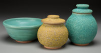 Harding Black (American, 1912-2004) Two Jars and a Bowl, 1975, 1979 & 1987 Stoneware with lava and o
