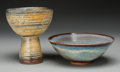 Ceramics & Porcelain, American:Contemporary   (1950 to present)  , Harding Black (American, 1912-2004). Bowl and Chalice, 1968 & 1985 . Stoneware with oil spot and cobalt oxidation glazes... (Total: 2 Items)