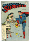 Golden Age (1938-1955):Superhero, Superman #51 (DC, 1948) Condition: FN-. Lois Lane cover by Wayne Boring. Win Mortimer, Curt Swan, and Henry Boltinoff art. O...