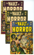 Golden Age (1938-1955):Horror, Vault of Horror Group (EC, 1953-55) Condition: Average GD/VG.Includes issues #28 (rusty staples and name written on cover),...(Total: 3 Comic Books)