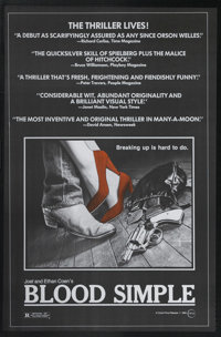 """Blood Simple (Circle Films, 1984). One Sheet (24"""" X 37""""). Joel and Ethan Cohen's debut, ultra low-budget film..."""