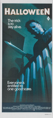 """Halloween (Compass International Pictures, 1978). Australian Daybill (13"""" X 30""""). """"The night HE came home..."""