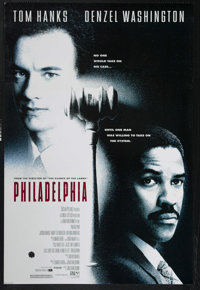 "Philadelphia (Tri Star Pictures, 1993). One Sheet (27"" X 41""). Tom Hanks and Denzel Washington star in this gr..."
