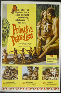 """Primitive Paradise (Excelsior, 1961). Poster (40"""" X 60""""). A documentary shot by explorer Lewis Cotlow on his e..."""