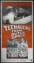 """Movie Posters:Science Fiction, Teenagers from Outer Space (Warner Brothers, 1959). Three Sheet (41"""" X 81""""). UFOs! Beautiful girls threatened by extra-terre..."""