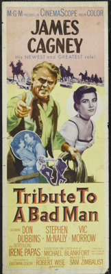"""Tribute to a Bad Man (MGM, 1956). Insert (14"""" X 36""""). Jeremy Rodock (James Cagney) is a tough rancher who live..."""