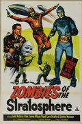 """Movie Posters:Serial, Zombies of the Stratosphere (Republic, 1952). One Sheet (27"""" X 41""""). Classic Republic serial about invaders from Mars who pl..."""