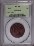 Proof Large Cents: , 1857 1C PR65 Red and Brown PCGS. PCGS Population (5/1). NGC Census:(5/2). Mintage: 238. Numismedia Wsl. Price: $7,475. (#2...