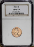 Lincoln Cents: , 1968 1C MS66 Red NGC. NGC Census: (65/1). PCGS Population (109/11).(#2905)...