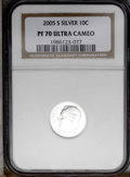 Proof Roosevelt Dimes: , 2005-S 10C Silver PR70 Deep Cameo NGC. PCGS Population (59/0).(#95311)...