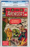 Silver Age (1956-1969):Superhero, The Avengers #1 UK Edition (Marvel, 1963) CGC FN- 5.5 Off-white towhite pages....