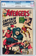 Silver Age (1956-1969):Superhero, The Avengers #4 UK Edition (Marvel, 1964) CGC FN- 5.5 Off-white to white pages....
