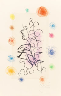 Joan Miró (1893-1983) Obscur Laurier, 1962 Etching and aquatint in colors 7-7/8 x 5-1/2 inches (2
