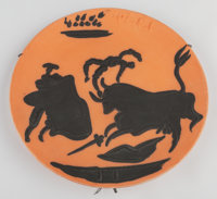 Pablo Picasso (1881-1973) Codiga, 1959 Red earthenware dish painted in black 16-1/4 x 16-1/4 inch