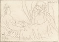 Prints:European Modern, Pablo Picasso (1881-1973). Vieillard et femme couchée, 1960.Etching on Ancient verdâtre laid paper. 5 x 7 inches (12.7 ...