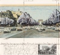 Christo and Jeanne-Claude (b. 1935) Wrapped Trees, Project for the Avenue des Champs-Elysees and Rond-Pont des