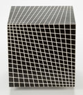 Sculpture, Richard Anuszkiewicz (b. 1930). Untitled, 1968. Plastic cube multiple in black and white. 10 x 10 x 10 inches (25.4 x 25... (Total: 2 Items)