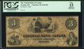 Canadian Currency: , Toronto, CW- Colonial Bank of Canada $3 May 4, 1859 Ch. #130-10-04-06. ...