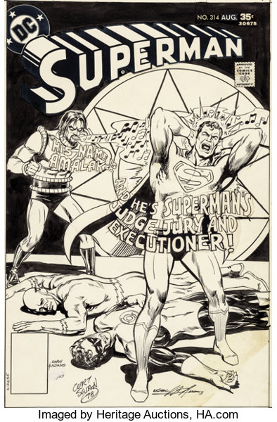 Curt Swan and Neal Adams Superman #314 Cover Flash and Green