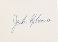Baseball Collectibles:Others, 1972 Jackie Robinson Signed Cut. ...