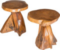 Furniture : American, American School (20th Century). A Pair of Toadstools Stool,circa 1970. California walnut. 16 x 17 x 14 inches (40.6 x 4...(Total: 2 Items)