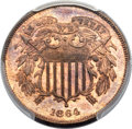 Proof Two Cent Pieces, 1864 2C Large Motto PR65 Red and Brown PCGS. CAC....