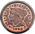 1846 1C Small Date, N-1, R.1, MS64 Red and Brown PCGS. CAC....(PCGS# 397609)