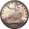 Proof Trade Dollars, 1877 T$1 PR64 Cameo PCGS Secure. CAC....