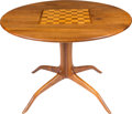 Furniture : American, Sam Maloof (American, 1916-2009). Custom Games Table, 1974. California walnut with various inlaid woods. 29 inches high ...