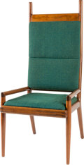 Furniture : American, Sam Maloof (American, 1916-2009). Armchair. California walnut, Jack Lenor Larsen upholstery. 47 x 22 x 21 inches (119.4 ...