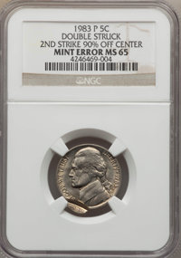 1983-P 5C Jefferson Nickel -- Double Struck, Second Strike 90% Off Center -- MS65 NGC