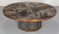 Furniture , Philip (American, 1907-1987) and Kelvin LaVerne (American, b. 1936). Chan Coffee Table, circa 1960. Brass, pewter and en...