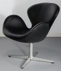 Furniture : Continental, Arne Jacobsen (Danish, 1902-1971). Black Swan Chair,designed 1958, Fritz Hansen. Leather, foam, aluminium, polishedste...