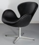 Arne Jacobsen (Danish, 1902-1971) Black Swan Chair, designed 1958, Fritz Hansen Leather, foam, aluminium, polished ste...