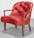 Furniture , Edward Wormley (American, 1907-1995). Janus Lounge Chair, circa 1957, Dunbar. Walnut with leather upholstery. 29-1/2 x 2...