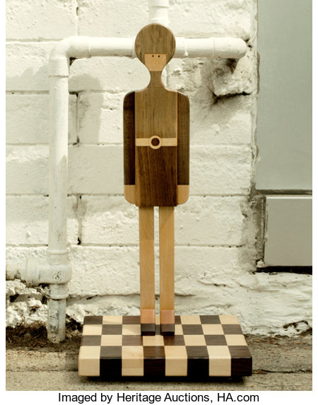 Pamela Weir-Quiton (American, b. 1944) Pamela Girl (Doll with Base), 1966 with later base Silver grey hairwood, walnut... (Total: 2 Items)