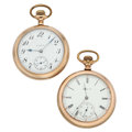 Timepieces:Pocket (post 1900), Two Elgin's 17 Jewels Open Face Pocket Watches. ... (Total: 2 Items)