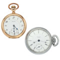 Timepieces:Pocket (post 1900), Waltham & Elgin Open Face Pocket Watches. ... (Total: 2 Items)