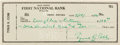 Baseball Collectibles:Others, 1954 Ty Cobb Signed Check....