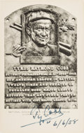 Baseball Collectibles:Others, 1958 Ty Cobb Signed Black & White Hall of Fame Plaque. ...
