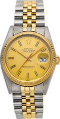 Timepieces:Wristwatch, Rolex Gent's Two Tone Oyster Perpetual Datejust Ref. 16000, circa1984. ...