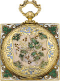 Timepieces:Pocket (pre 1900) , Patek & Cie Geneve Fine Gold & Enamel Square Cased Watch,circa 1865. ...