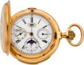 Timepieces:Pocket (pre 1900) , LeCoultre Massive Gold Minute Repeater With Triple Calendar & Moon Phase & Chronograph, circa 1890's. ...