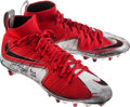 Autographs:Bats, 2015 Jalin Marshall Game Worn, Signed Ohio State Buckeyes NationalChampionship Game Cleats....
